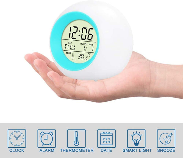 Innoo Tech Kids Alarm Clock, Digital Wake Up Clock with 7 Colors Changing Light & 6 Optional Alarm Nature Sounds, with Temperature Calendar, Best Night Light Bedside Clock for Students/Boys/Girls