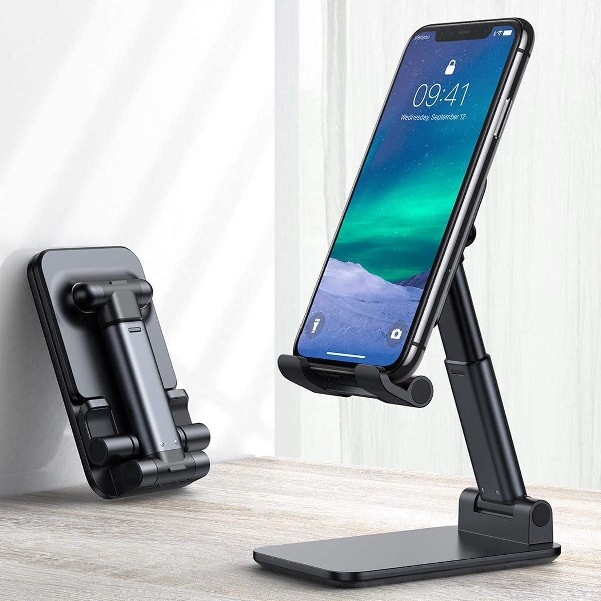 Cell Phone Stand, Innoo Tech Foldable Portable Desktop Stand Adjustable Height and Angle Phone Holder for Desk Sturdy Aluminum Metal Stand