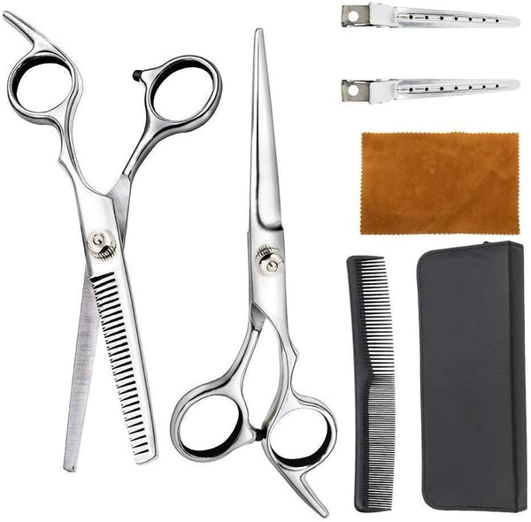 Innoo Tech Hair Cutting Scissors Set, Professional Haircut Scissors Kit, with Cutting Scissors, Thinning Scissors Comb Cape Clips, Black Hairdressing Shears Set for Barber Salon