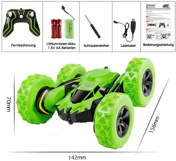 Innoo Tech RC Stunt Car Rechargeable Racing Car with 2.4Ghz Remote Control, High Speed Car Toys 4WD Double Sided 360° Spins and Flips Driving Car Toys for Kids Boy(Green)