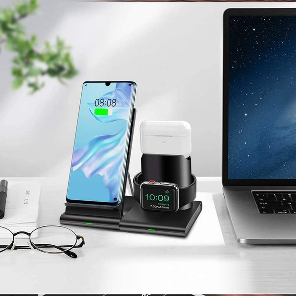 Innoo Tech Wireless Charger, 3 in 1 Wireless Charging Station for Apple Watch Series 5/4/3/2, Airpods Pro/2, 7.5W Qi Fast Magnetic Wireless Charging Stand for iPhone 11 Pro Max/XS Max/XR/X/8 Plus