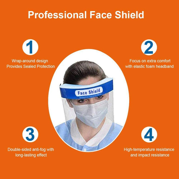 Innoo Tech Safety Face Shield Full Protection Cap Wide Visor Resistant Spitting Anti-Fog Lens, Lightweight Adjustable Transparent Face Shield for Men Women (6 PCS)