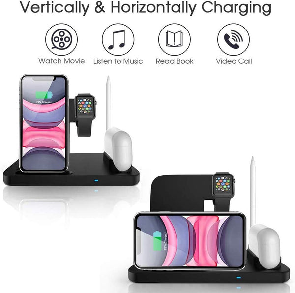 Innoo Tech Wireless Charger, 4 in 1 Wireless Charger Station for iPhone 11/11pro/11pro Max/X/XS/XR/Xs Max/8/8 Plus Galaxy S10/S10 Plus, Compatible Apple Watch & AirPods & Pencil Charging Station Dock