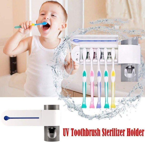 Innoo Tech Toothbrush Sterilizer,UV Toothbrush Sanitizer Holder, Automatic Toothpaste Dispenser,5 Toothbrush Sterilizer Holder with Sticker free Punching for Family