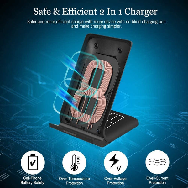 Innoo Tech Wireless Charger, 2 in 1 Wireless Charging Station Qi-Certified Fast Charger Dock for iPhone 11/11pro/11pro Max/X/XS/XR/Xs Max/8/8 Plus, AirPods 1/2/Pro, Samsung