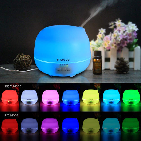 Innoo Tech Aroma Diffuser, 500ml Aromatherapy/Essential Oil Diffuser, Ultrasonic Humidifier & Cool Mist Humidifier with 7 LED Color for Babies, Yoga, Spa, Car, Children's Room, Bedroom, Office, etc