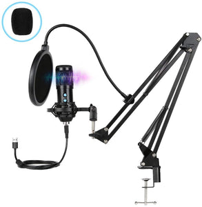 Innoo Tech PC Microphone, USB Condenser Microphone, Professional Recording Plug and Play Microphone Kit with Stand for Computer Laptop Singing Podcasting Streaming Gaming Youtube