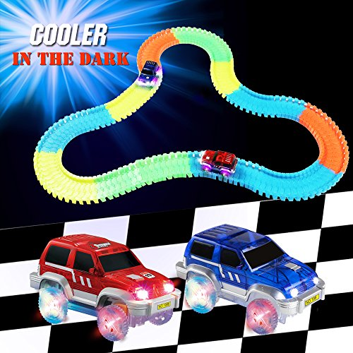 220 Pcs Neon Parts Magic Glow Tracks Racer Set | 2 Light-up Race Flexible Cars with 3 LED Lights