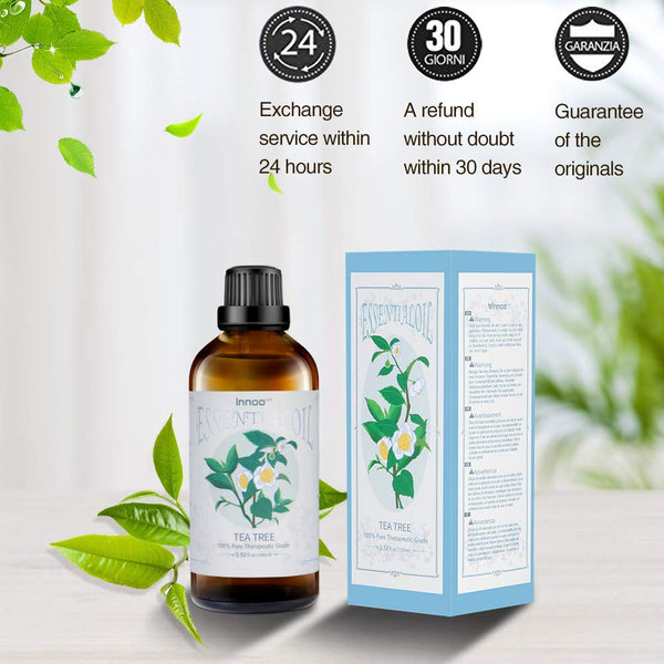 Innoo Tech Tea Tree Essential Oil 100ml, 100% Pure Natural Aromatherapy Eucalyptus Organic Essential Oil for Diffuser & Humidifier, Hair Care, etc