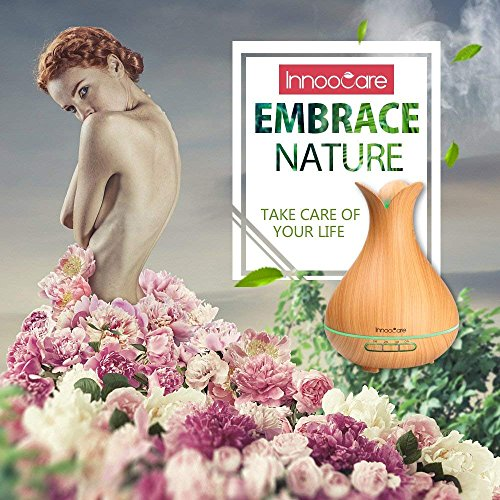 Innoo Tech Wood Grain Cool Mist Humidifier 300ml Essential Oil, Ultrasonic Petal Design Aroma Diffuser