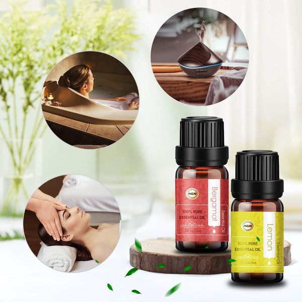 ANEAR Essential Oil Set 12 x 10 mL 4 X 5ml, Tea Tree, Lavender, Lemongrass, Orange, Grapefruit, Chamomile, Sandalwood, Rose, Bergamot, Peppermint, Jasmine, Eucalyptus, Frankincense, Rosemary etc