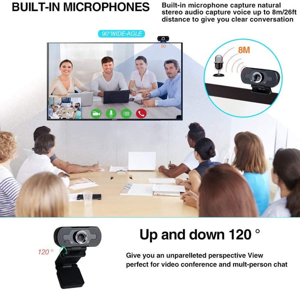 Innoo Tech Webcam 1080P Full HD Web Camera USB Desktop Laptop PC Webcam with Built-in Microphone USB Plug & Play for Live Broadcast Video Meeting Black