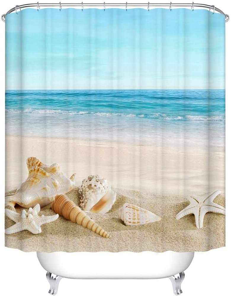 ANEAR Waterproof Polyester Fabric Bathroom Shower Curtain, Mildew-Resistant Anti-Bacterial 3D Digital Printing Pattern Shower Curtains with 12 Ring Hooks, 180 x180cm (Beach & Conch & Starfish)