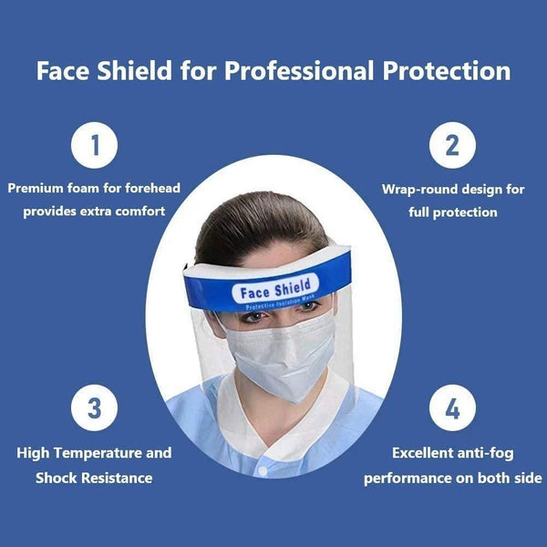 Innoo Tech All-Round Protection Cap with Clear Wide Visor Spitting Lightweight Transparent Shield with Adjustable Elastic Band (12 PACK)