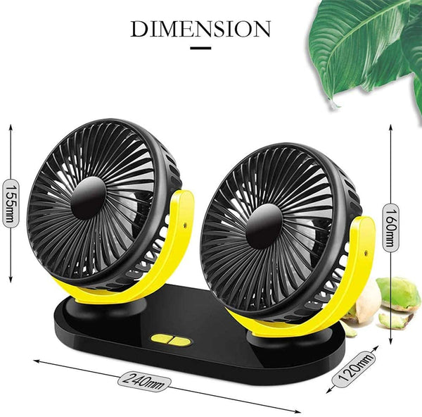 ANEAR Car Fan, 12V/24V Universal 360° Rotating Dual Heads Car Fan Electric Auto Cooling Fan With 3 Speeds Adjustable and USB Charging for Car Home Office
