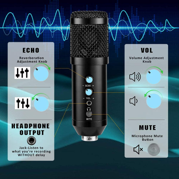 Innoo Tech PC Microphone, USB Condenser Microphone Kit, Professional Recording Plug and Play One Key Mute with Tripod Stand for Computer Laptop Singing Podcasting Streaming Gaming Youtube