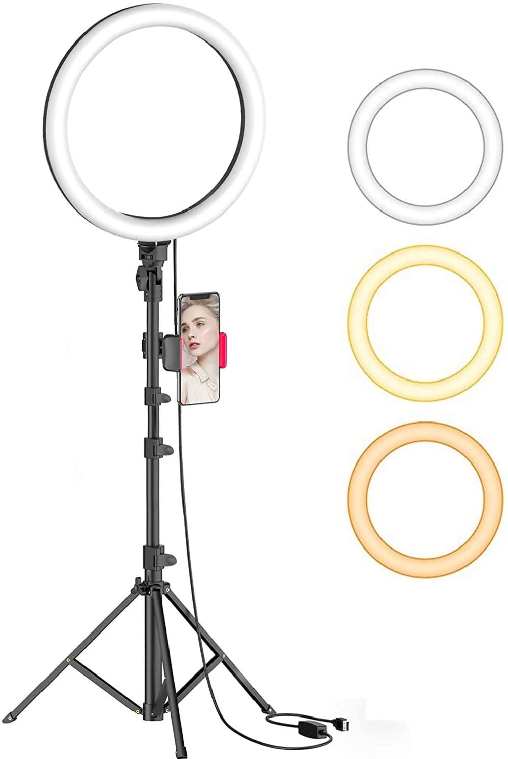"Innoo Tech Selfie Ring Light, 8"" Ring Light with Tripod Stand & Phone Holder, Dimmable LED Beauty Camera Ring light for Makeup/Photography/YouTube Videos/Live, Compatible with iPhone & Android"