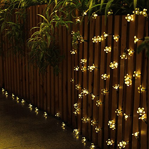 Innoo Tech L1804-01-03 50 Led Blossom Flower Fairy Outdoor Solar String Lights, 21 Warm White