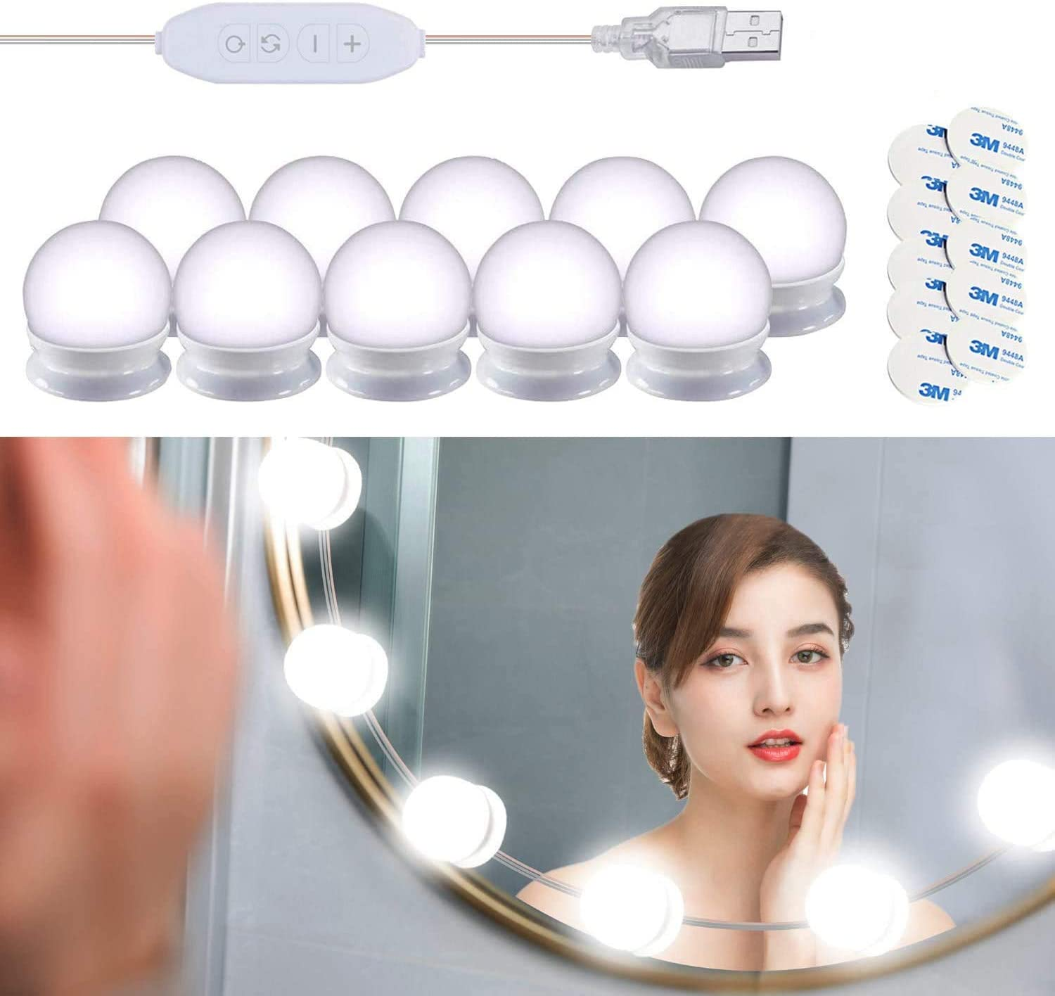 Innoo Tech Mirror Lights, Hollywood Style LED Vanity Mirror Lights Kit with 10 Dimmable Bulbs, USB Cable Vanity Lights for Mirror with 3 Color Modes & 10 Adjustable Brightness