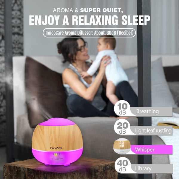 Innoo Tech Essential Oil Diffuser, 500ML, InnooCare Wood Grain Aromatherapy Diffuser, Ultrasonic Cool Mist Humidifier with 7 Color Changing LED Lights and Timer Settings, Waterless Auto off