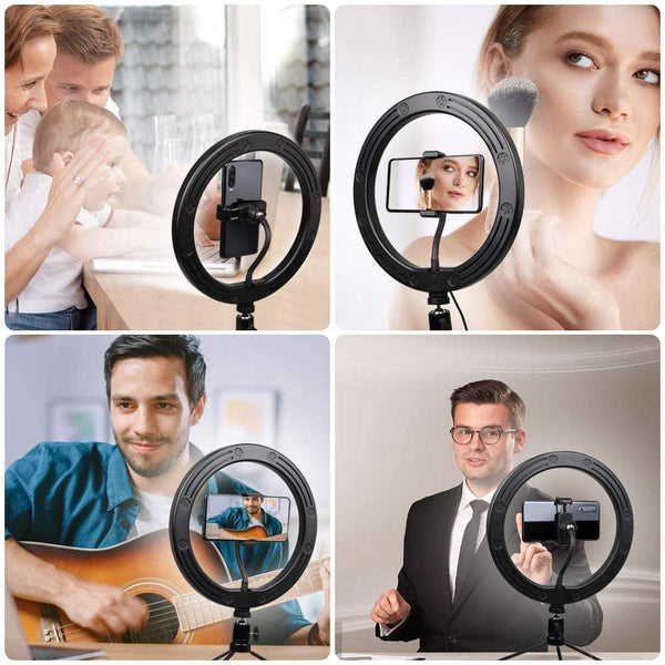 "Innoo Tech Ring Light with Remote Control-10"" Selfie Ring Light with Tripod Stand, 16 RGB Colors Dimmable LED Lamp Camera Bluetooth Ring Light for Live Stream/YouTube/TikTok/Photography/Makeup"