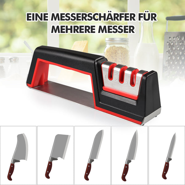 Innoo Tech Messerschärfer, 3 Stufen Messerschleifer, Knife Sharpener Messerschaerfer, Rutschfeste Basis, ideal für Edelstahlmesser Aller Größen