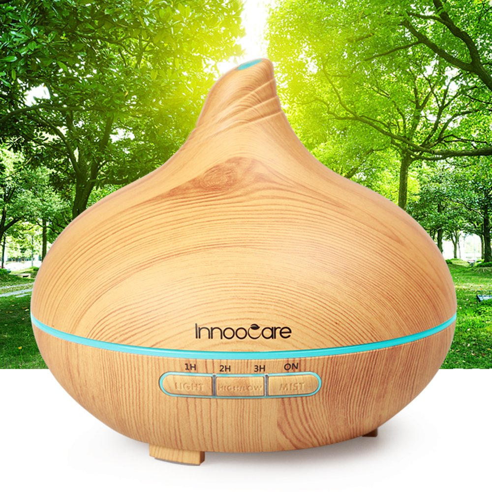 Essential Oil Diffuser Aromatherapy Diffuser, InnooCare Wood Grain 300ml Humidifier - 7 Color LED Lights, Waterless Auto-Off for Yoga, Salon, Spa, Office, Bedroom - Yellow Wood Grain