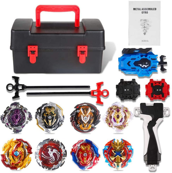 Innoo Tech 8 Pieces Bey Battle Blade Burst Gyro Top Set, 4D Fusion Model Metal Masters Acceleration Launcher, Speed Spinning Top, Great Kids Toy