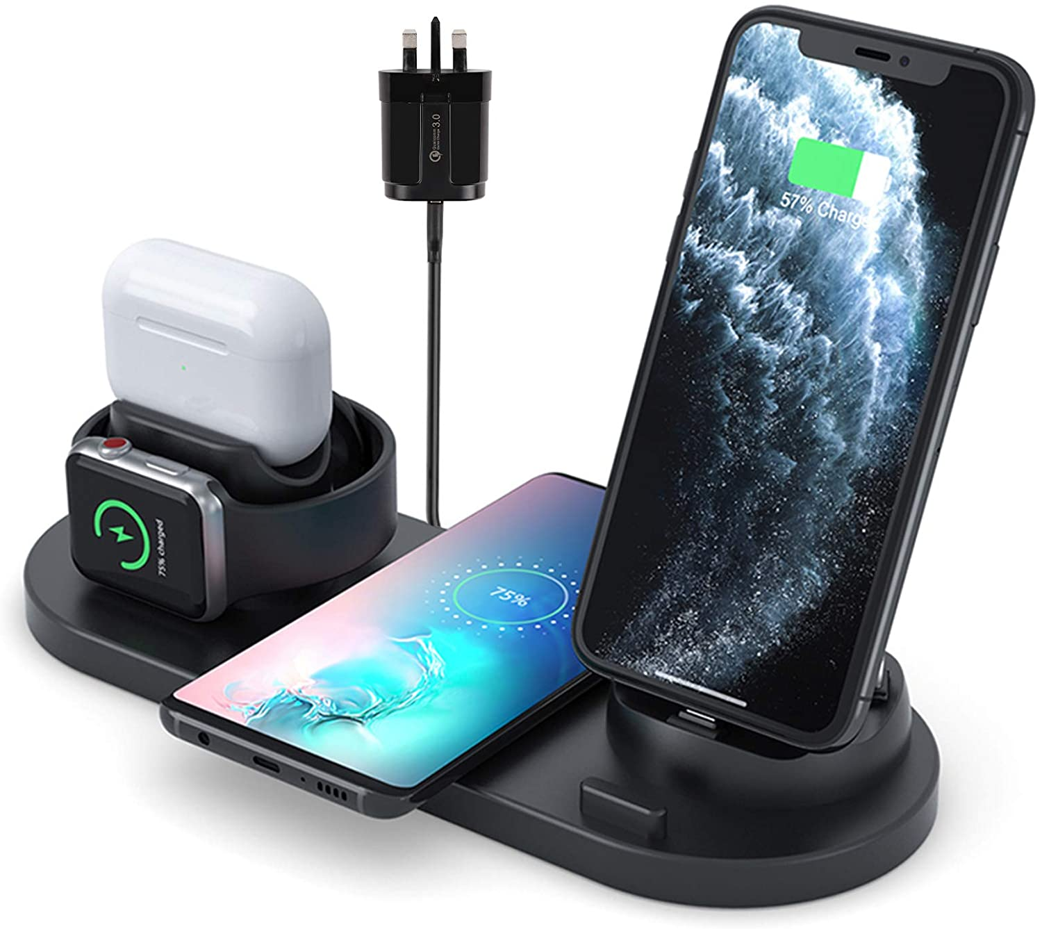 Innoo Tech Wireless Charger, 6 in 1 Wireless Fast Charging Stand for Apple Watch/AirPods/iPhone 12/11/11pro/11pro Max/X/XR Samsung S20/S10, Charging Dock for Other Qi Phone [QC 3.0 Adapter Included]
