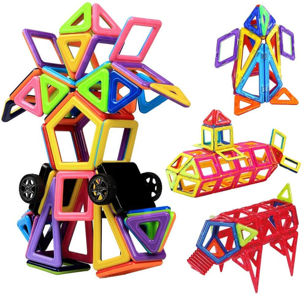 Innoo Tech Magnetic Building Blocks, Magnetic Building Tiles, 76+1 Pieces Magnetic Shapes, ABS Safety Plastic, Instruction Booklet Included, Construction Toys Educational Toys for Toddlers & Kids