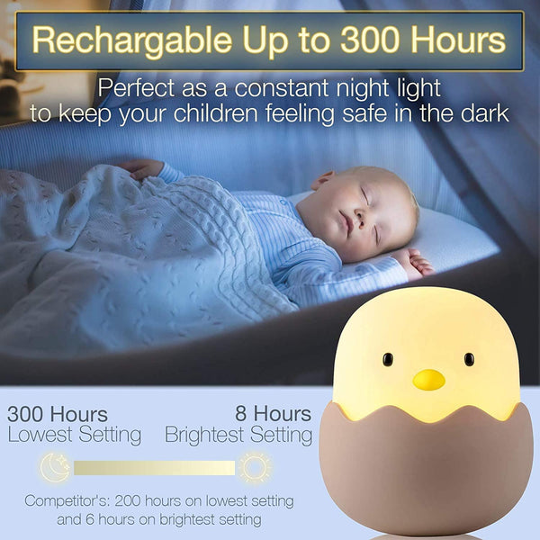Innoo Tech Night Light for Kids | Baby Nursery Lamp with Touch Controls | Cute Chick Bedside Nightlight for Nursing/Breastfeeding | USB Rechargeable | Newborn or Toddler Bedroom Decor