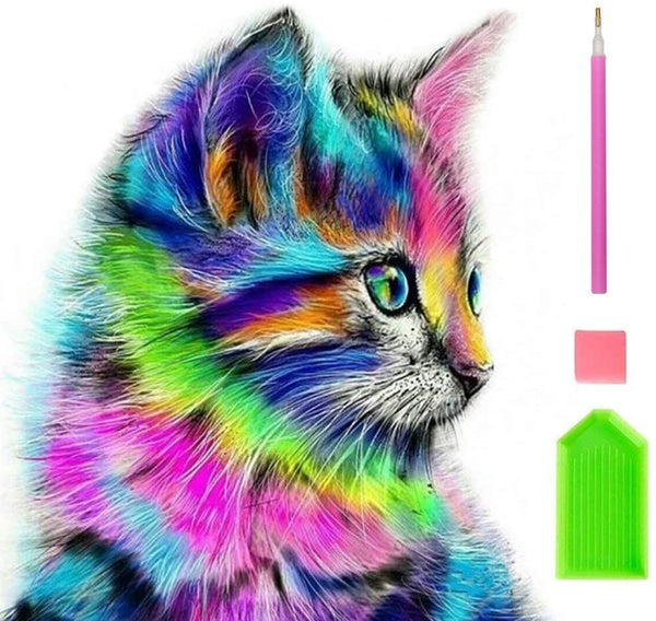 ANEAR DIY 5D Diamond Painting Kits for Kids & Adult Colorful Cat Round Rhinestone Embroidery Cross Stitch Arts Craft Canvas Wall Decor, 12X12 inch