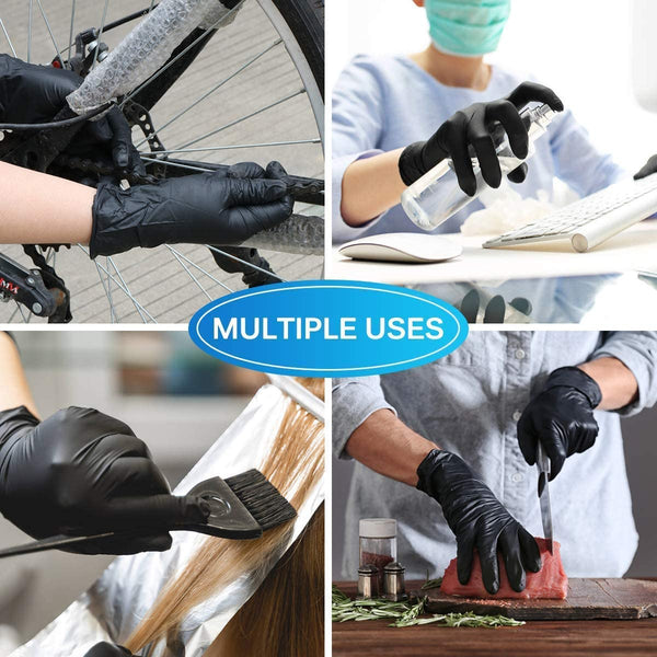 Innoo Tech 100pcs Disposable Nitrile Gloves Waterproof Exam Gloves Black Rubber Gloves Multipurpose Gloves for Personal Protection Kitchen Cleaning, M Size, Black Gloves