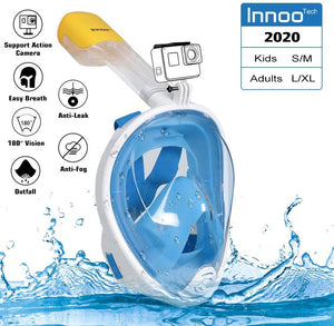 Innoo Tech Full Face Snorkeling Mask, 180° Seaview Scuba Diving Snorkel Mask for Kids Adult, Snorkeling Mask Full Face Anti Fog with Camera Mount, L/XL