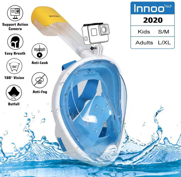 Innoo Tech Full Face Snorkeling Mask, 180° Seaview Scuba Diving Snorkel Mask for Kids Adult, Snorkeling Mask Full Face Anti Fog with Camera Mount