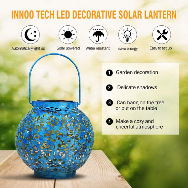 Innoo Tech Hanging Solar Lantern, Outdoor LED Solar Lights Decorative Retro Metal Waterproof Solar Lamp with Handle for Garden, Patio, Path, Yard and Tree