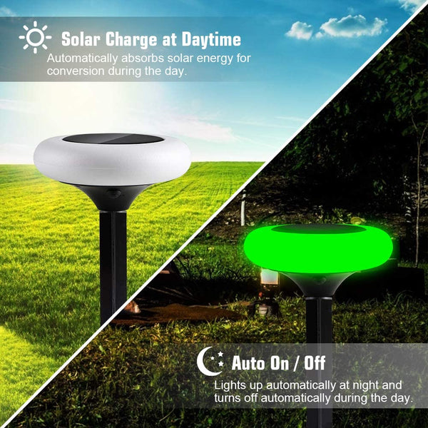 Innoo Tech Solar Lights, 2PCS Solar Ground Lights Outdoor with 7 Color Changing IP65 Waterproof LED Solar Path Lights Decoration for Lawn Pathway Patio Garden