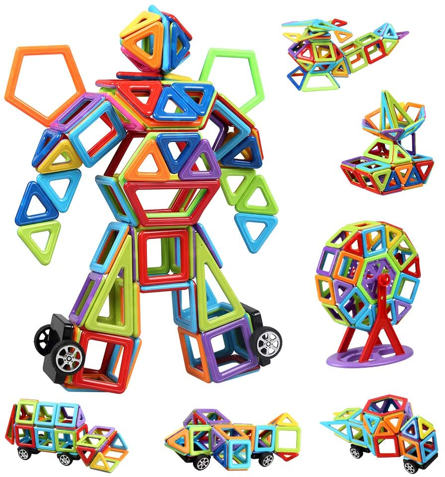 infinitoo 109 Pcs Magnetic Building Blocks, Magnet Blocks Set 3D Building Blocks, Educational Construction Kit Magnet Stacking Creativity Toys for Kids Children