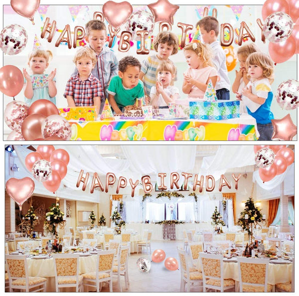 Innoo Tech Rose Gold Birthday Party Decoration, Happy Birthday Banner, Rose Gold Fringe Curtain, Foil Tablecloth, Heart Star Foil Confetti Balloons plus for Girl Women Birthday Party