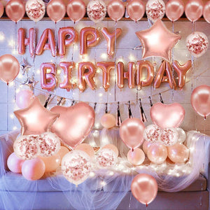 Innoo Tech Pink and Gold Birthday Decorations Party Supplies Set (50 PC), Balloons, Tassels, Banner, Dispensing, Pump for Birthday Party - Princess Party - Ballerina Party - Bachelorette Party