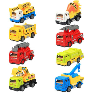 8 Pieces Construction Vehicles Metal Pull Back and Go Trucks Model Set for 3-12 Year Old Boy Nice Christmas Gift for Kids