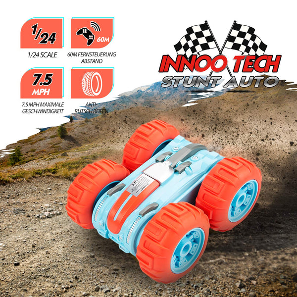 Innoo Tech Remote Control Car Waterproof Stunt Car- 2.4Ghz 4WD Off Road Water & Land Rc Cars-Double Sides Stunt Car with 360° Spins & Flips Racing Car Toys for Kids Christmas Birthday Gift, Orange