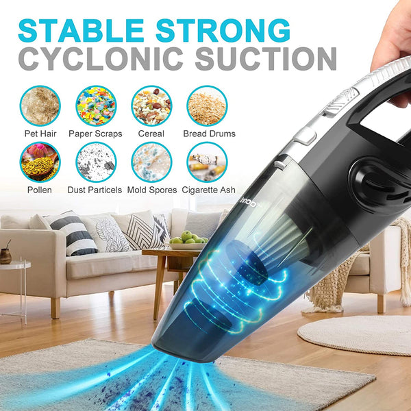 Innoo Tech Car Vacuum Cleaner, 3.2KPa Strong Cyclone Suction, Home Wireless Handheld Vacuum, 120W Rechargeable Handheld Hoover, Wet Dry Dual Use, for Home, Car and Pet