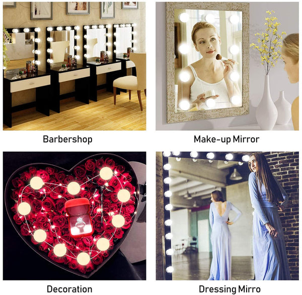 EiioX Mirror Lights, Hollywood Style LED Vanity Mirror Lights Kit with 10 Dimmable Bulbs, USB Cable Vanity Lights for Mirror with 3 Color Modes & 10 Adjustable Brightness