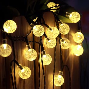 Warm White Crystal Ball Outdoor Solar String Lights