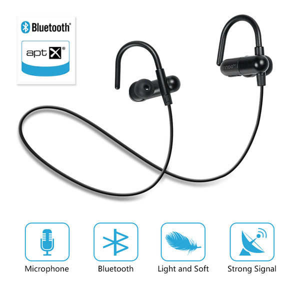 Innoo Tech Bluetooth Headphones QY10 Update QY9 V4.1 Wireless Sport Headset Stereo Earbuds Sweatproof in-Ear Noise Cancelling Earphones Mic APT-X for iPhone 6 Plus 5S 4S Galaxy Android Phones