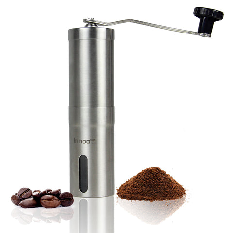 Coffee Grinder Manually - Conical Burr Mill, Brushed Stainless Steel 1.9 x 1.9 x 7.5 inches | - Lifetime Warranty