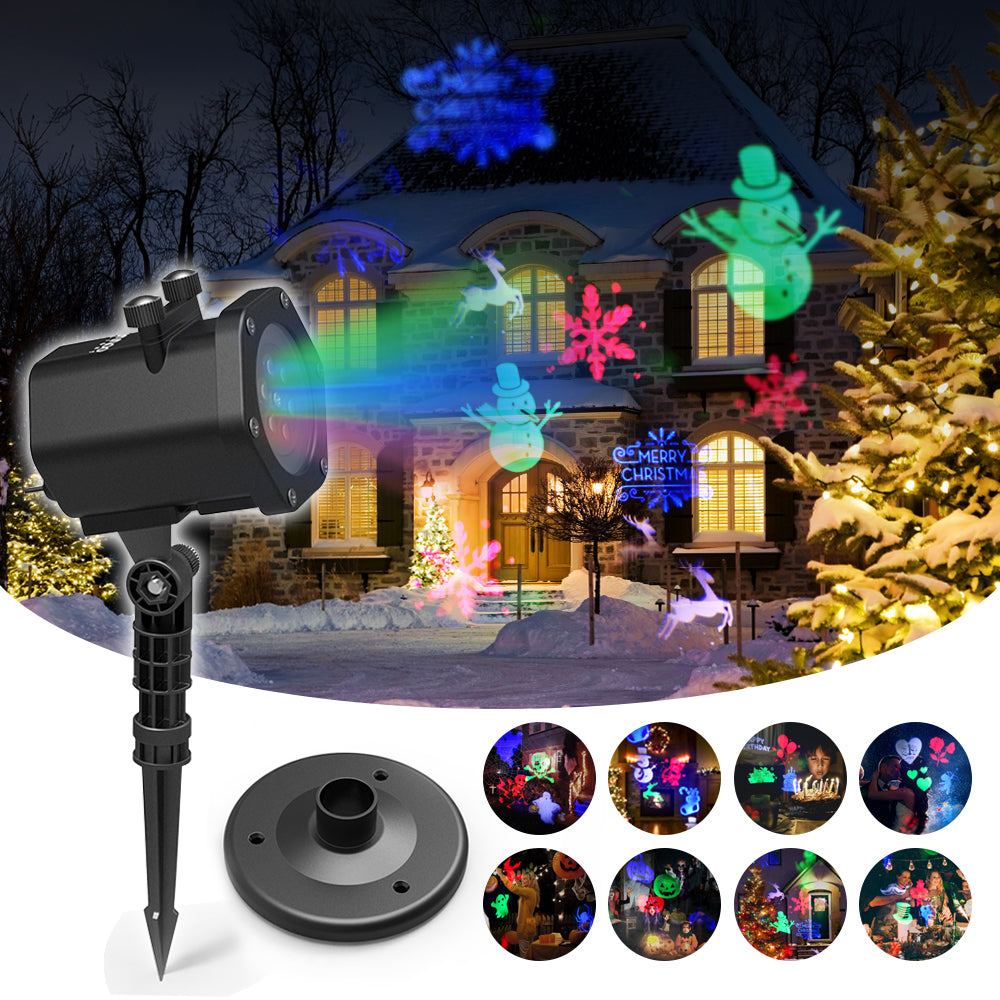 Laser Lights Christmas, Starry Projector Lights Red and Green, Outdoor, Garden, Halloween Christmas Holiday Party Decoration & Waterproof 5M Cable with RF Remote
