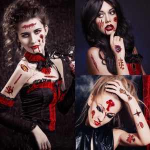 Scar Tattoo Halloween Makeup Zombie, 30 Sheet Vampire Makeup Sticker Cosplay Fake Blood Temporary - Safe for Skin Waterproof