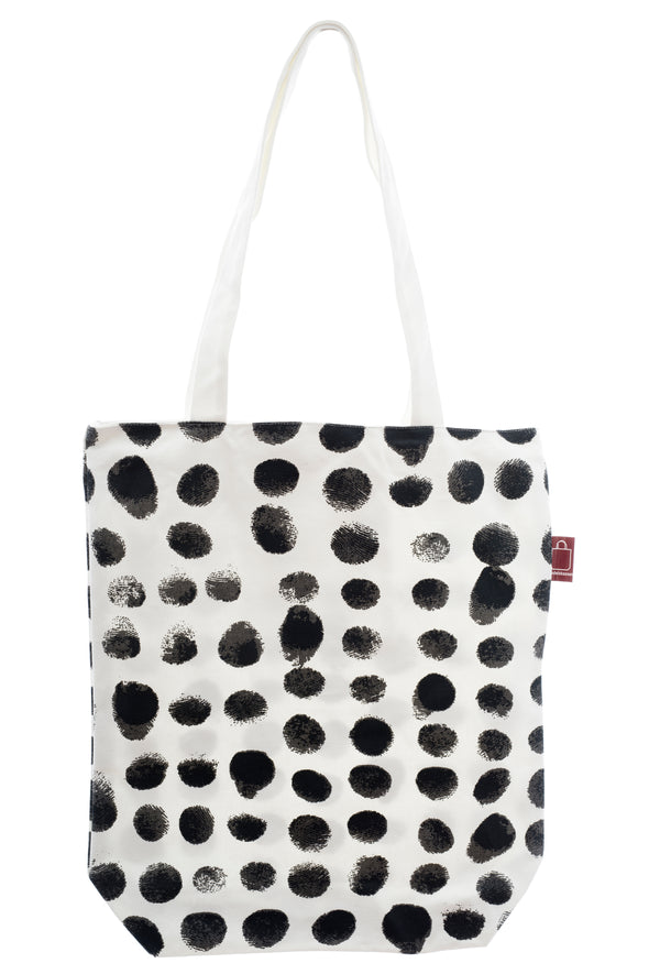 A strong cotton bag with a thumbprint design printed on strong cotton fabric. It has a zip for full closure of the bag, and a small inside pocket. Large enough to hold an ipad, laptop or some groceries.